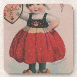 Dessous-de-verre Saint-Valentin victorienne de fille néerlandaise