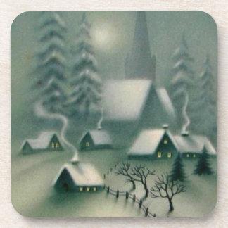 Dessous-de-verre Scène silencieuse vintage d'hiver de Noël de nuit