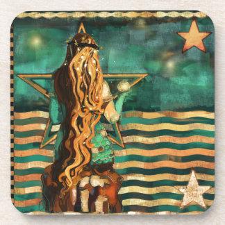Dessous-de-verre Sirène par la mer avec la lune et les étoiles