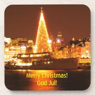 Dessous-de-verre Stockholm, Suède à Noël la nuit