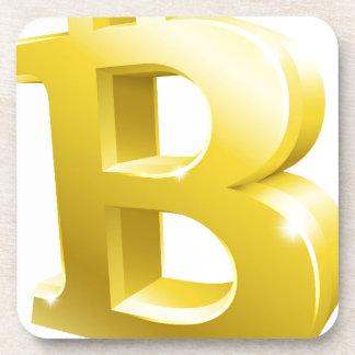 Dessous-de-verre Symbole de signe d'or de Bitcoin 3d