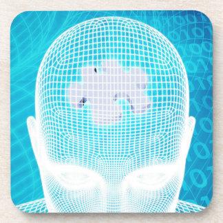 Dessous-de-verre Technologie futuriste avec la puce d'esprit humain