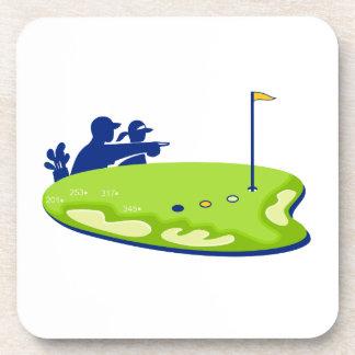 Dessous-de-verre Terrain de golf de caddie de golfeur rétro