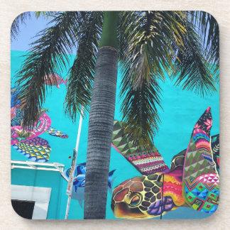 Dessous-de-verre Tortue tropicale, paradis de palmier