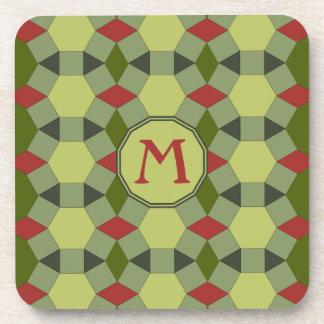 Dessous-de-verre Tuiles grises vertes rouges de monogramme