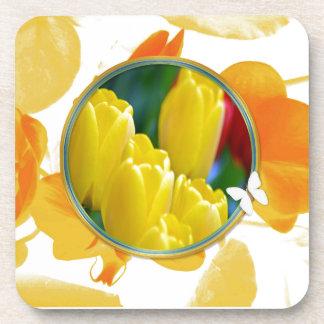 Dessous-de-verre Tulipes jaunes dans le cadre rond coloré
