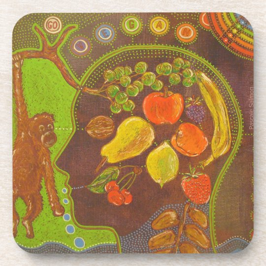 Dessous-de-verre Vegan fruits monkey