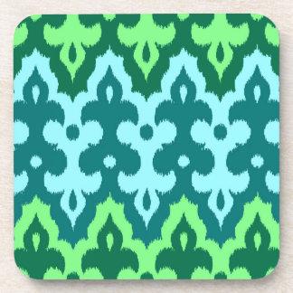 Dessous-de-verre Vert de damassé, de turquoise et de jade d'Ikat de