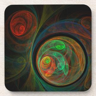 Dessous de verre verts de liège d'art abstrait de sous-bocks
