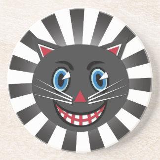 Dessous de verre vintages de chat noir des années