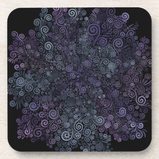 Dessous-de-verre violet 3d et turquoise psychédéliques