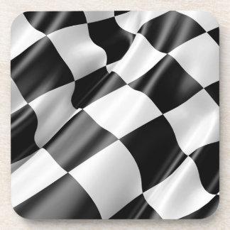 Dessous-de-verre Vitesse noire et blanche de finition de drapeau de