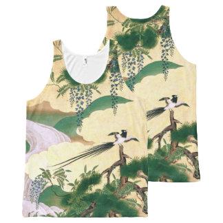 Dessus asiatique de cascade d'oiseau de fleur de bannières