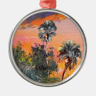 Dessus de palmier - ciel du feu ornement rond argenté