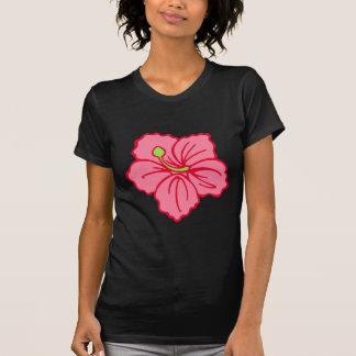 Dessus hawaïen rose tropical de T-shirt de fleur