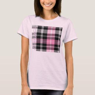 Dessus pur rose de plaid de style de filles t-shirt