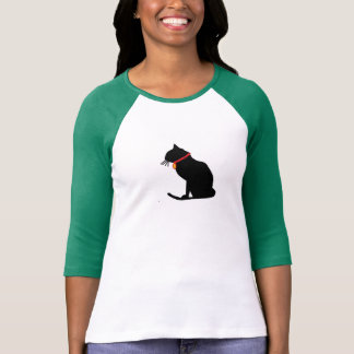 Dessus raglan de dames de chat vert frais t-shirt