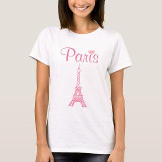 Dessus rose de T-shirt de Paris de Tour Eiffel
