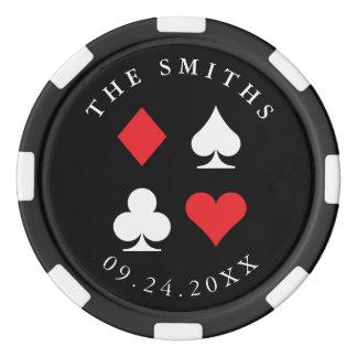Destin personnalisé épousant le rouge de noir de jetons de poker