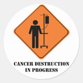 destruction de cancer en feuille d'autocollant de sticker rond