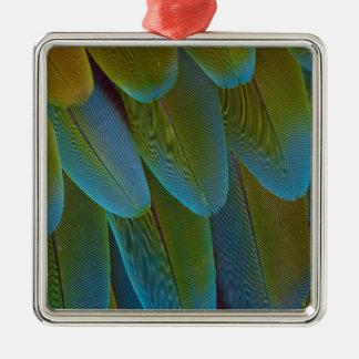 Détail de motif de plume de perroquet d'ara ornement carré argenté