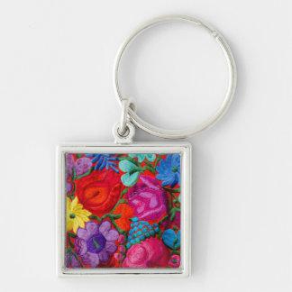 Détail de textile floral de broderie porte-clé carré argenté