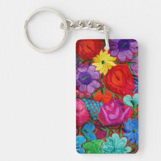Détail de textile floral de broderie porte-clé rectangulaire en acrylique double face