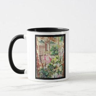 Détail d'un vase avec les hommes arrosant des mug