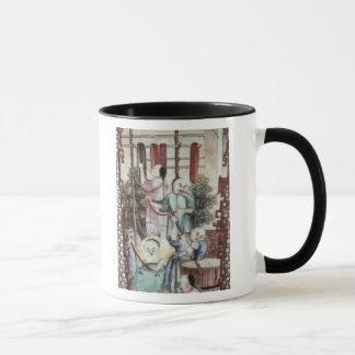 Détail d'un vase dépeignant des hommes teignant la tasse