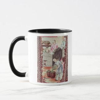 Détail d'un vase dépeignant le thé de séchage mug