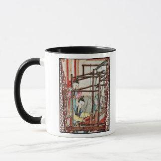 Détail d'un vase dépeignant le tissage de soie tasses