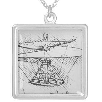 Détail d'une conception pour une machine de vol, c pendentif carré