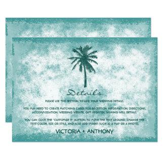 Détail tropical de mariage de plage de palmier carton d'invitation  11,43 cm x 15,87 cm