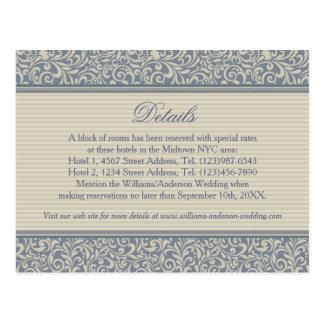 Détails bleus et beiges élégants de mariage de carte postale