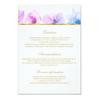 Détails bleus pourpres de mariage - l'information carton d'invitation 8,89 cm x 12,70 cm