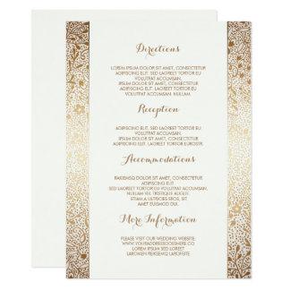 Détails floraux blancs de mariage d'or - carton d'invitation  11,43 cm x 15,87 cm