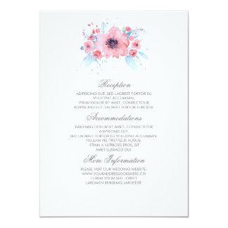 Détails floraux de mariage d'aquarelle bleue et carton d'invitation  11,43 cm x 15,87 cm