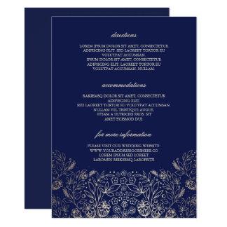Détails floraux de mariage de marine d'or - carton d'invitation  11,43 cm x 15,87 cm