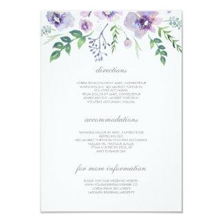 Détails pourpres et bleus de mariage - carton d'invitation 8,89 cm x 12,70 cm