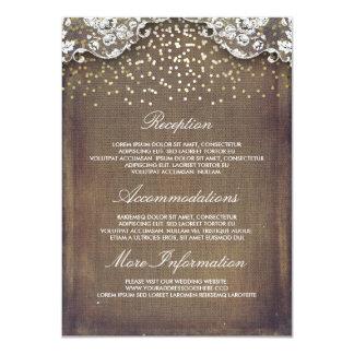 Détails rustiques de mariage de dentelle de carton d'invitation  11,43 cm x 15,87 cm