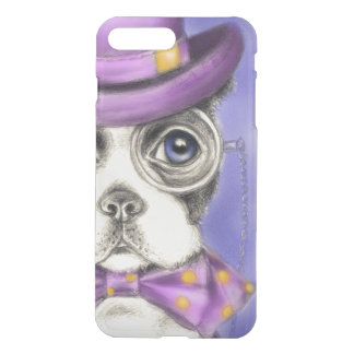 Détective pourpre de Boston Terrier Coque iPhone 8 Plus/7 Plus