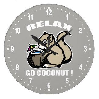 Détendez ! Disparaissent la noix de coco Grande Horloge Ronde