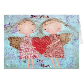 Deux ailes un coeur cartes de vœux