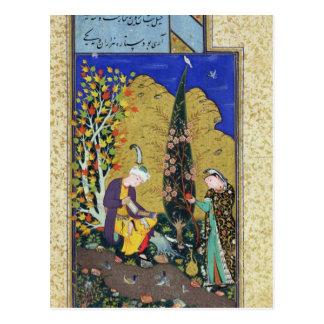 Deux amants dans un verger fleurissant carte postale
