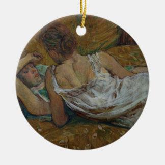 Deux amis (en pastel) ornement rond en céramique