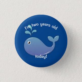 Deux ans bouton d'anniversaire de la baleine de pin's