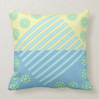Deux barres bleues de ton dans le carreau moyen oreiller
