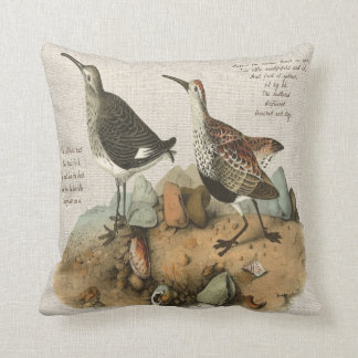 Deux bécasseaux avec le poème - version de coton coussin