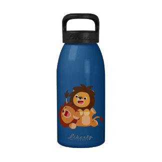 Deux bouteille d'eau espiègle mignonne des lions
