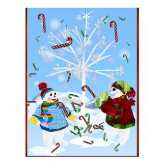 Deux cartes postales de bonhommes de neige